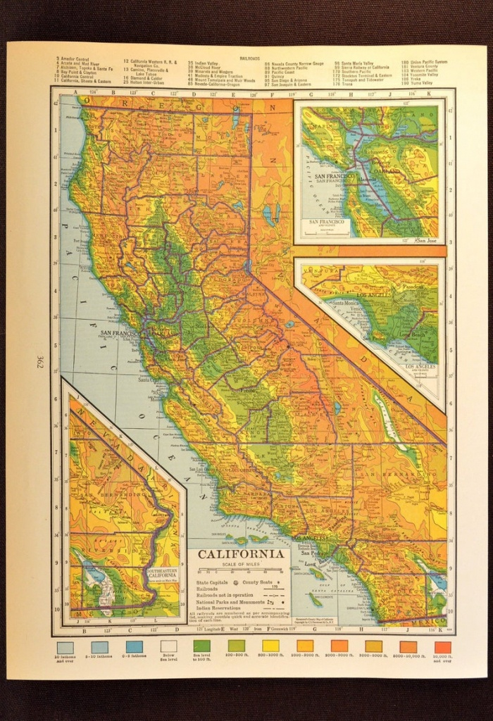 California Map Of California Topographic Map Wall Art Decor | Etsy - California Topographic Map