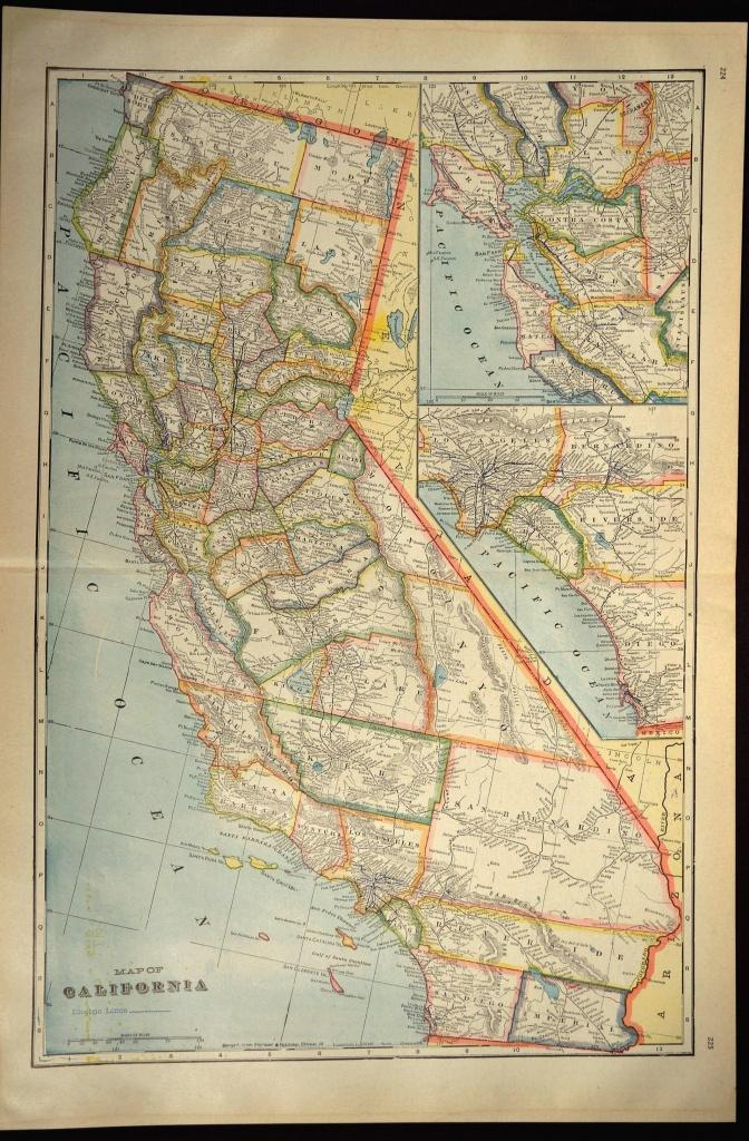 California Map Of California Wall Art Decor Large Antique Colorful - Large Wall Map Of California