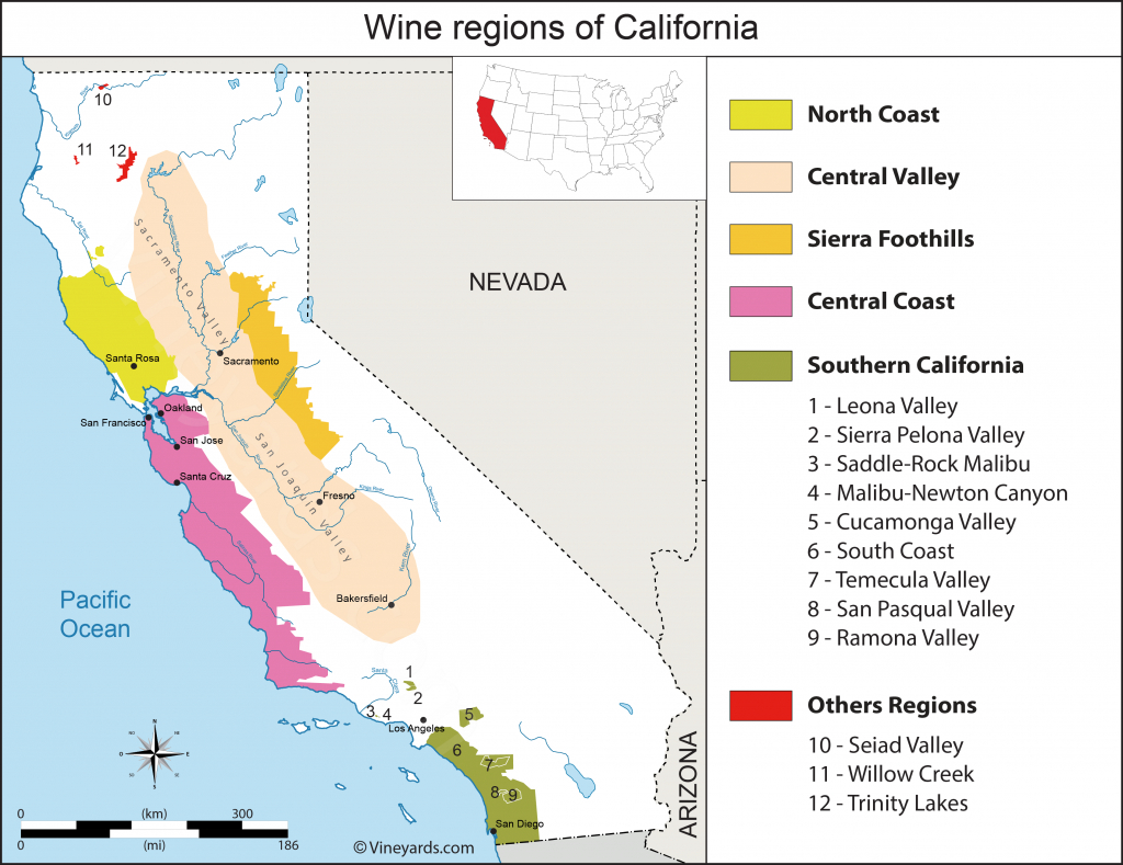 California Map Of Vineyards Wine Regions - California Wine Appellation Map
