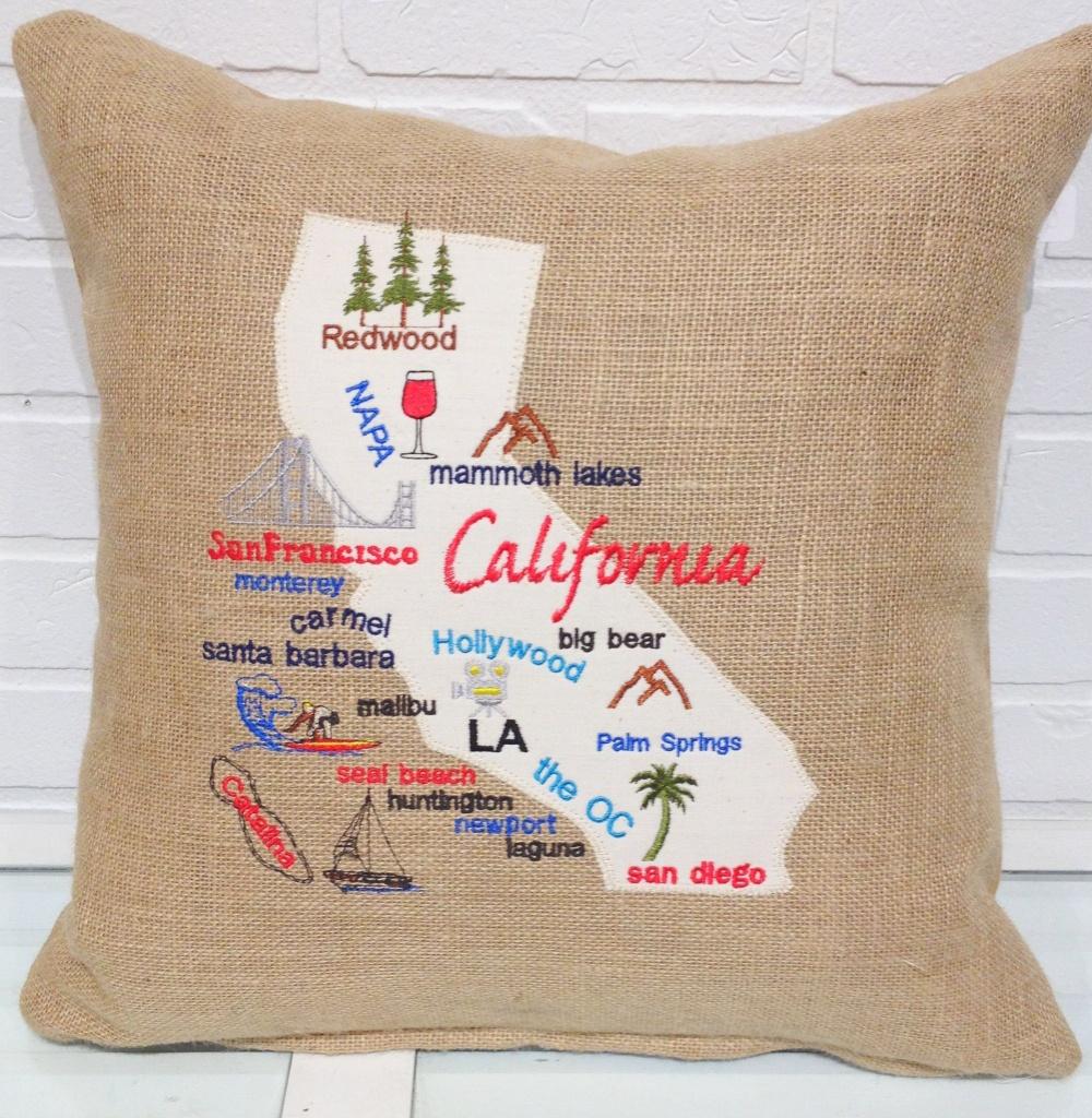 California Map Pillow California Burlap Pillow Burlap | Etsy - California Map Pillow