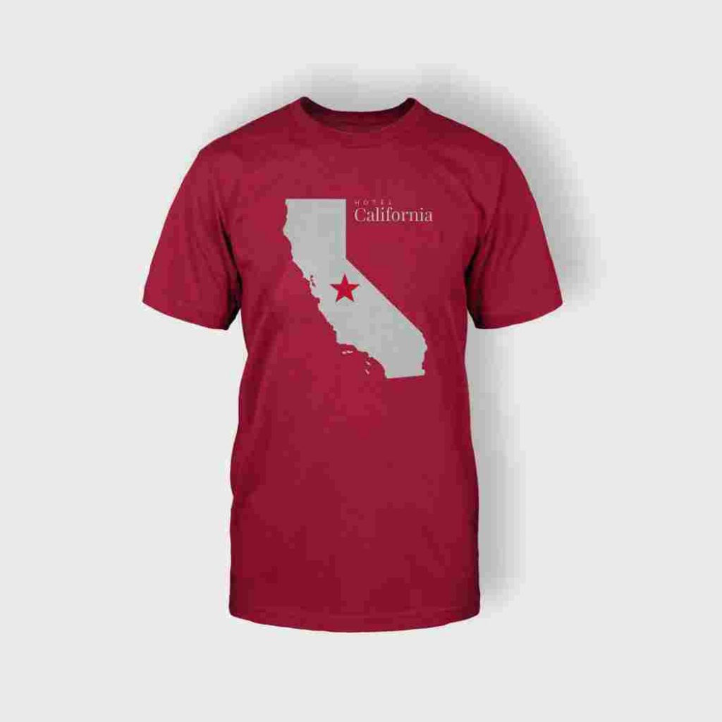 California Map T-Shirt (Red) - Majestic Suite - California Map T Shirt