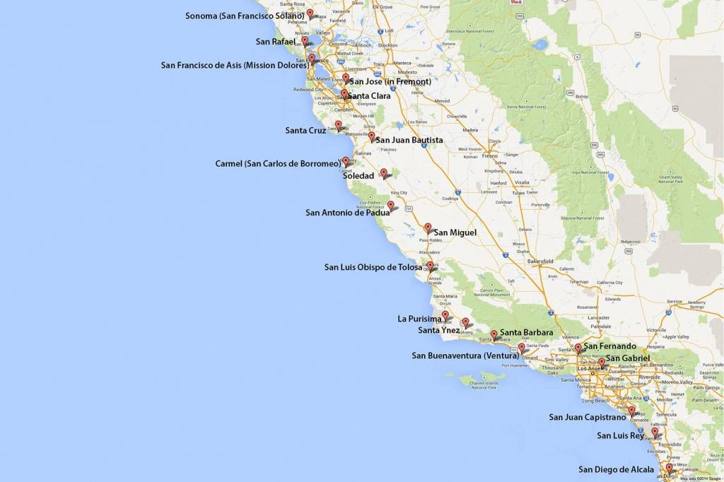 California Missions Map: Where To Find Them - Google Maps Santa Cruz California