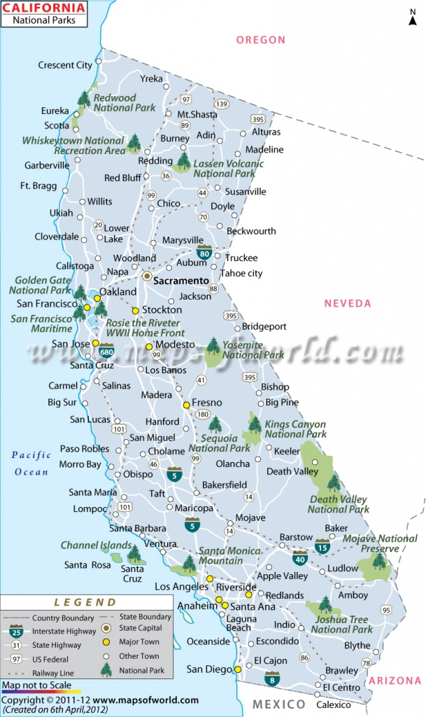 California National Parks Map, List Of National Parks In California - National Parks In Southern California Map