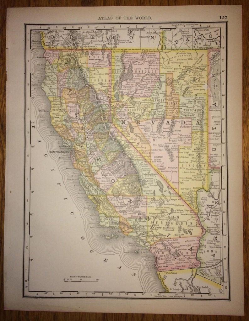 California & Nevada Or Alaska Large Map 1888 Rand Mcnally | Etsy - Rand Mcnally California Map