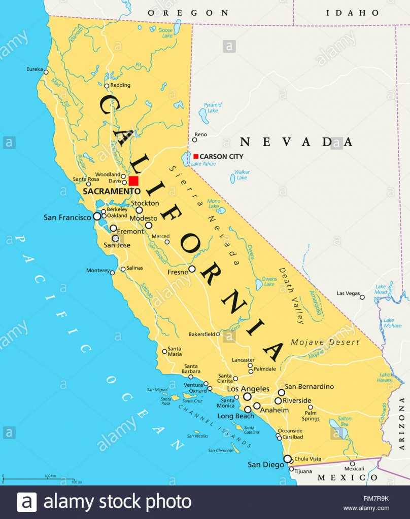California Political Map With Capital Sacramento, Important Cities - Lakes In California Map
