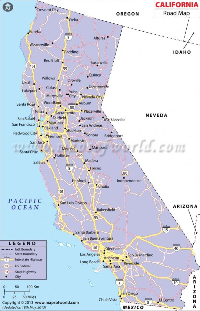 California Road Map, California Highway Map - California Interstate Highway Map