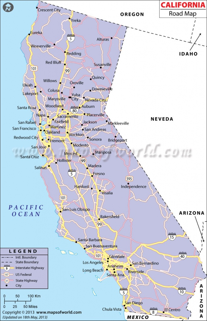 California Road Map, California Highway Map - Detailed Map Of California Coastline