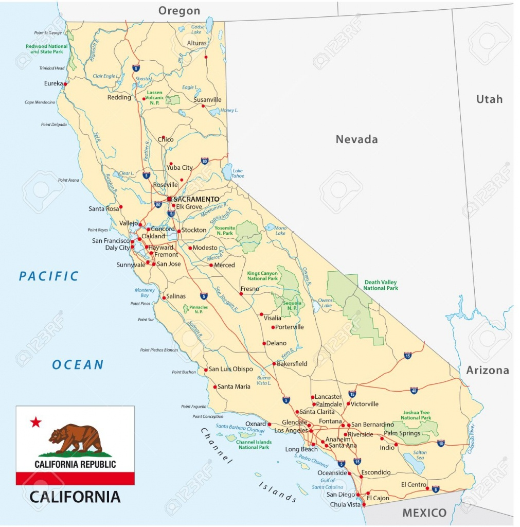 California Road Map With Flag Royalty Free Cliparts, Vectors, And - California Road Map Free