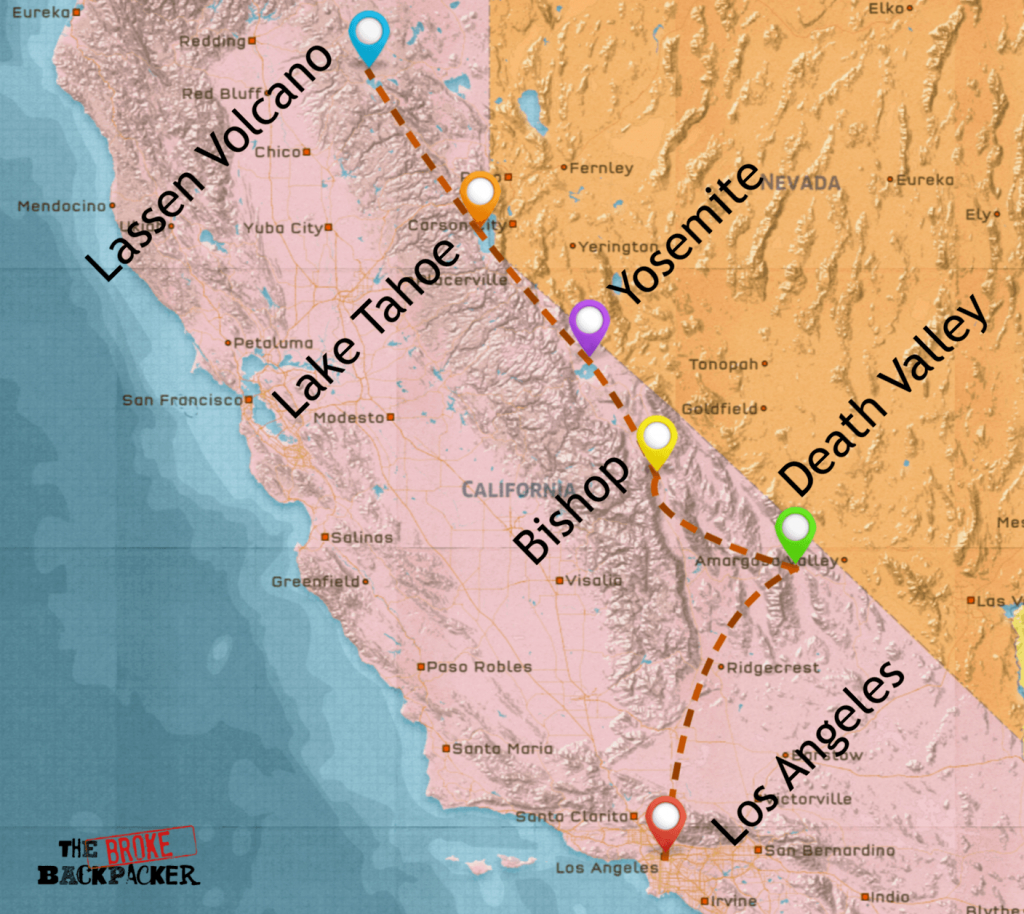 California Road Trip • Epic Budget Guide (July 2019) - California Hostels Map
