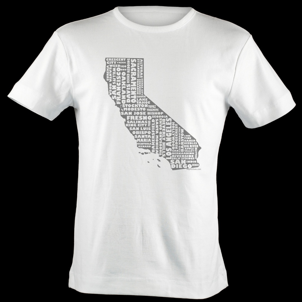 California Shirt Map Art | California Typography Map T-Shirt - California Map T Shirt