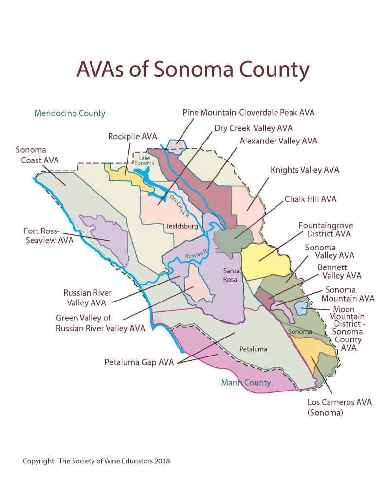 California—Sonoma County: Swe Map 2018 – Wine, Wit, And Wisdom - Sonoma California Map