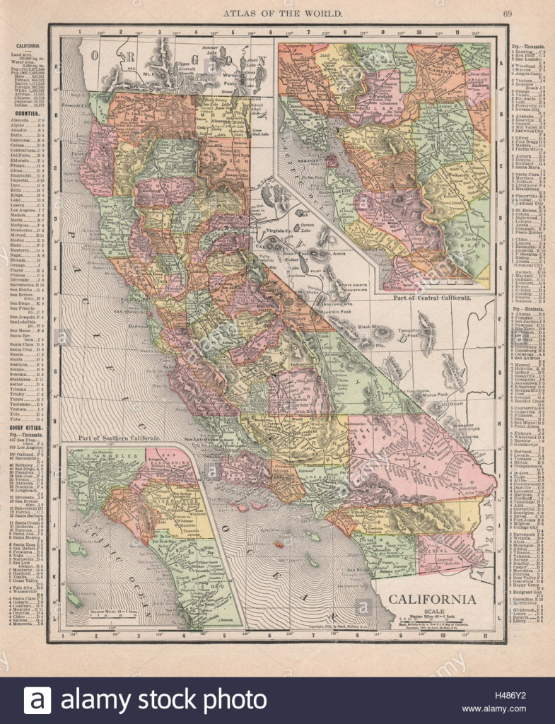 California State Map. Southern Ca & Bay Area Insets. Rand Mcnally - Old Maps Of Southern California