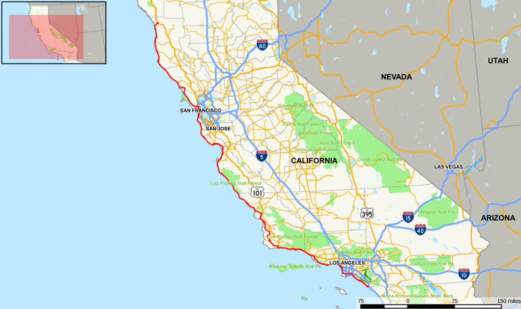 California State Route 1 - Wikipedia - Southern California Road Map Pdf