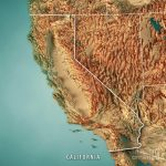 California State Usa 3D Render Topographic Map Border Digital Art   California Topographic Map