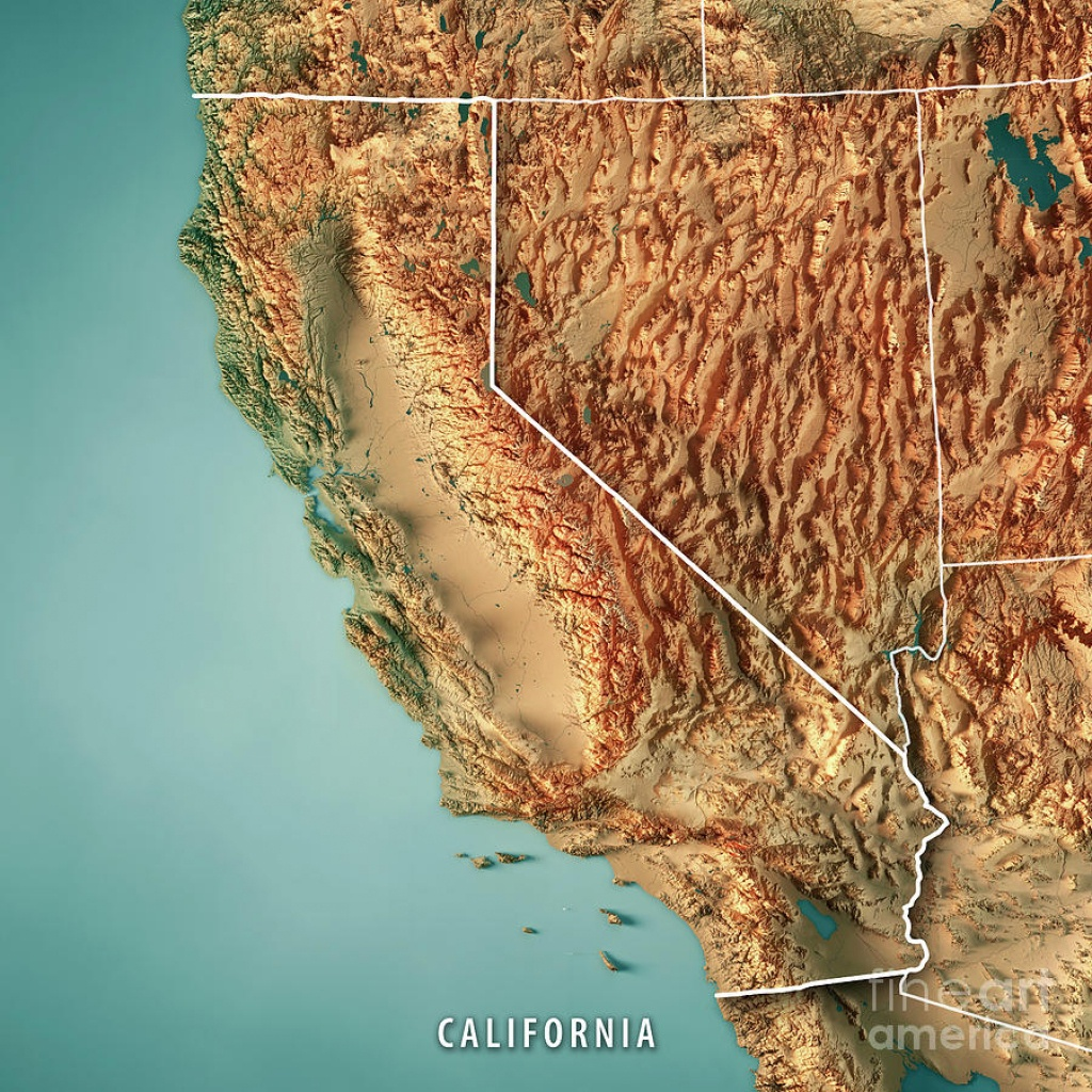California State Usa 3D Render Topographic Map Border Digital Art - California Topographic Map