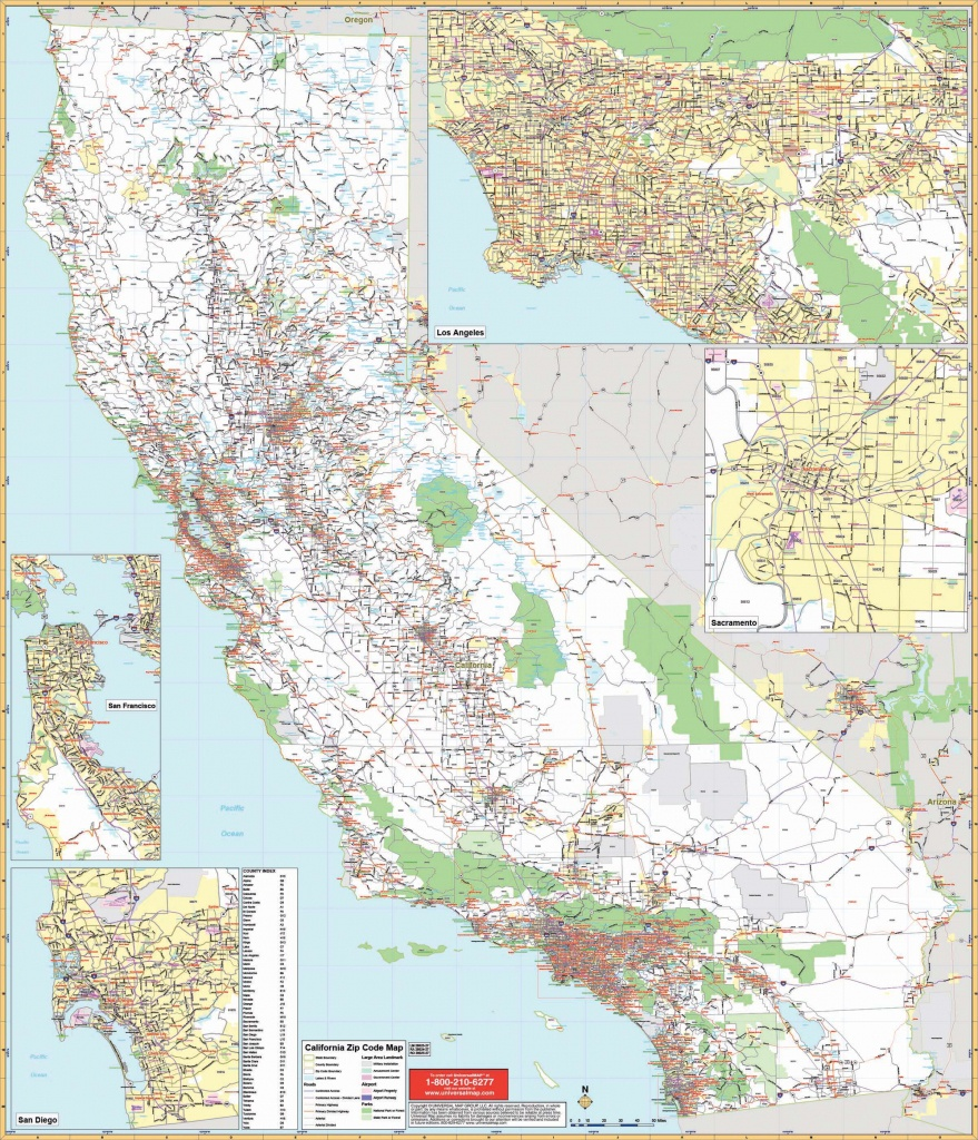 California State Wall Map W/ Zip Codes - The Map Shop - Large Wall Map Of California
