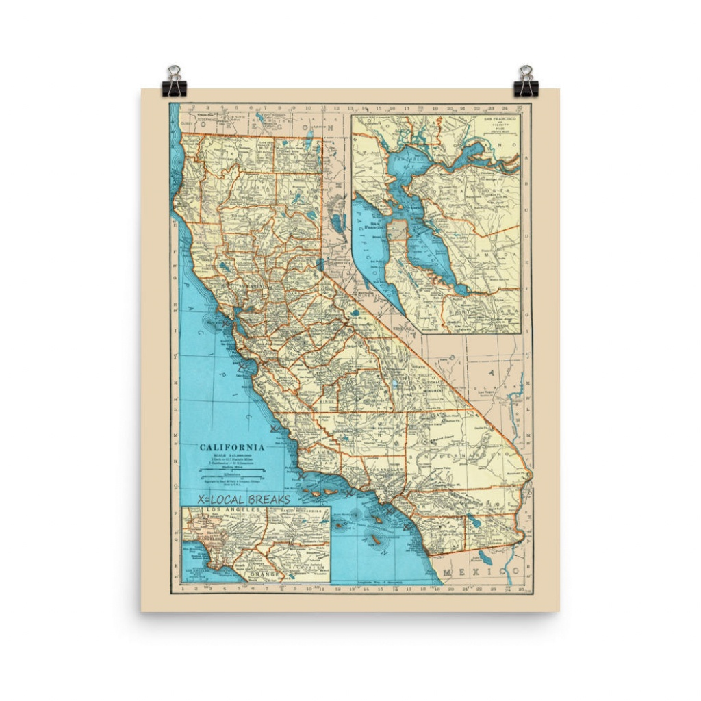 California Surf Poster Print California Surfing Spots Map | Etsy - Surf Spots In California Map