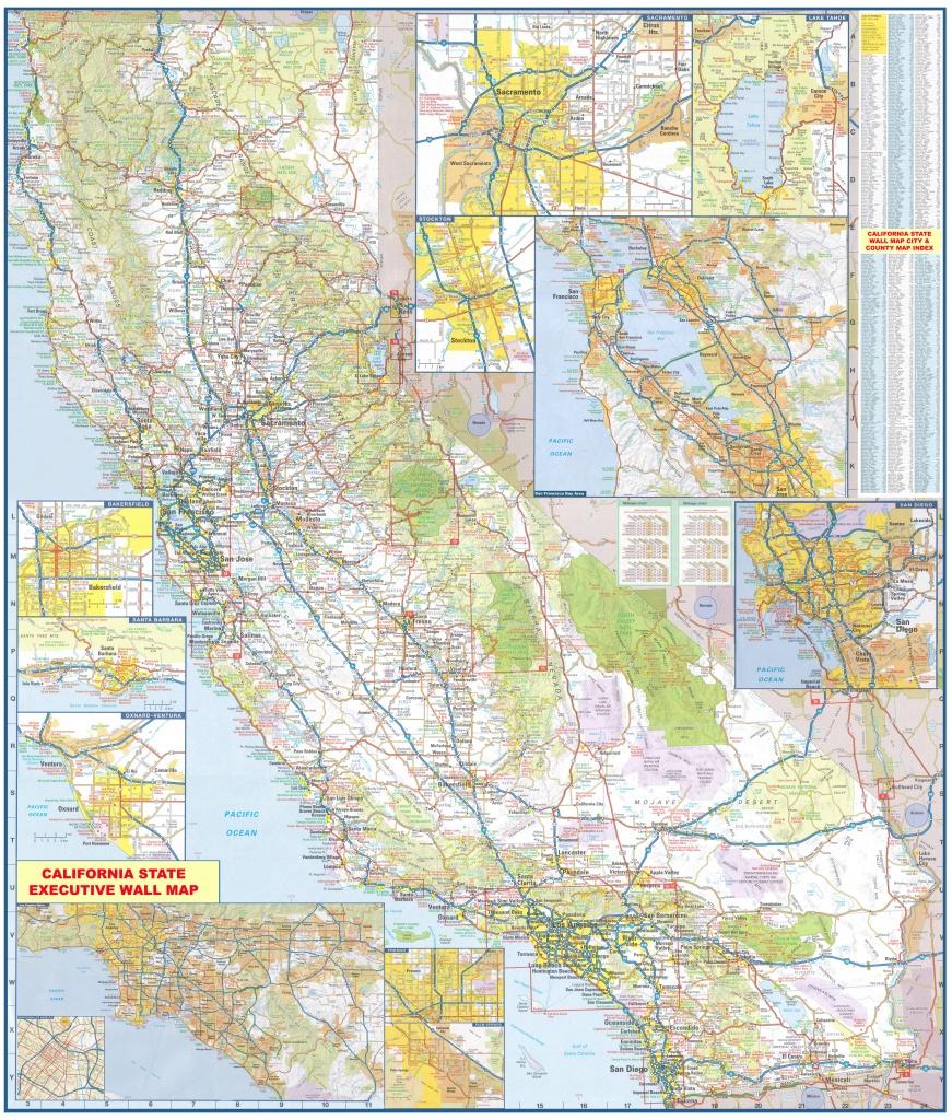 California Wall Map Executive Commercial Edition - Laminated California Wall Map