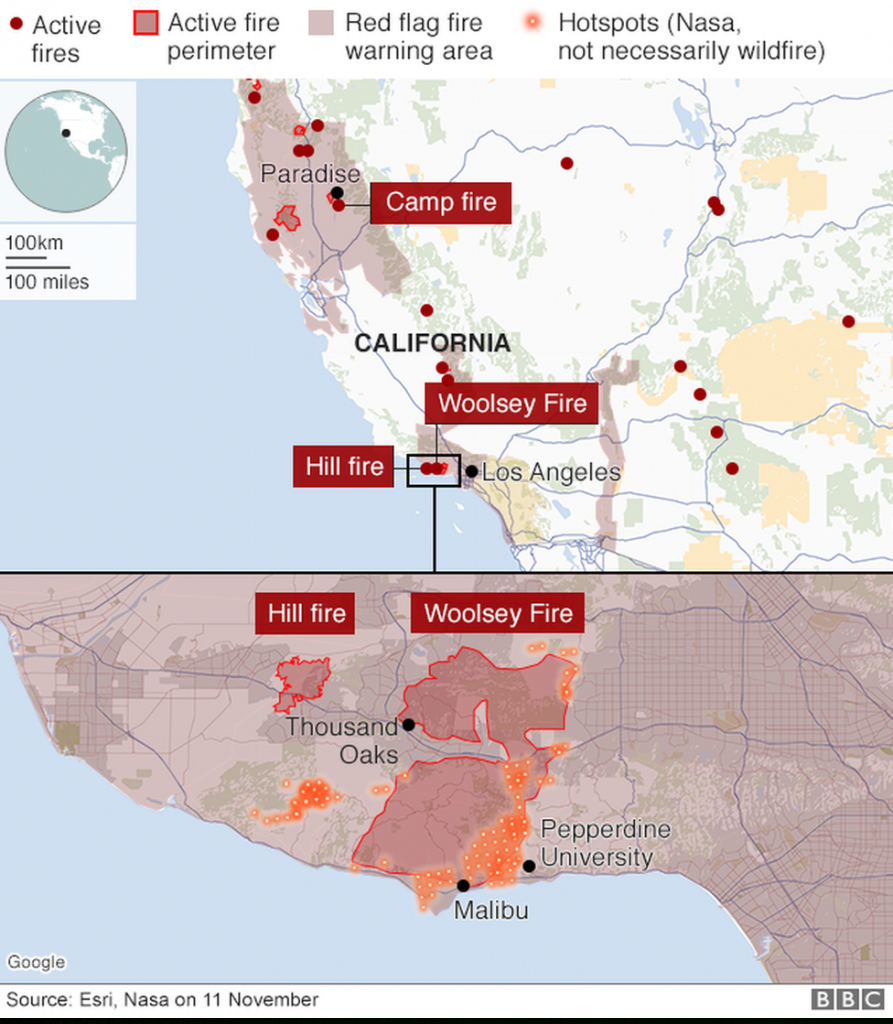 California Wildfires: Fears Of Further Damage As Winds Strengthen - Map Of California Wildfires Now