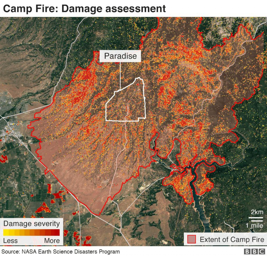 California Wildfires: Thanksgiving Hope From Ashes Of Paradise - Bbc - Paradise California Map