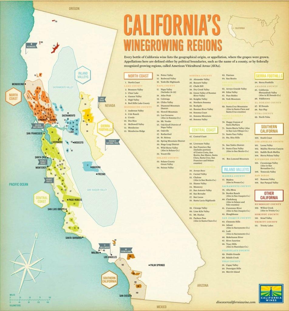 California Wine Regions - Maplets - California Wine Map
