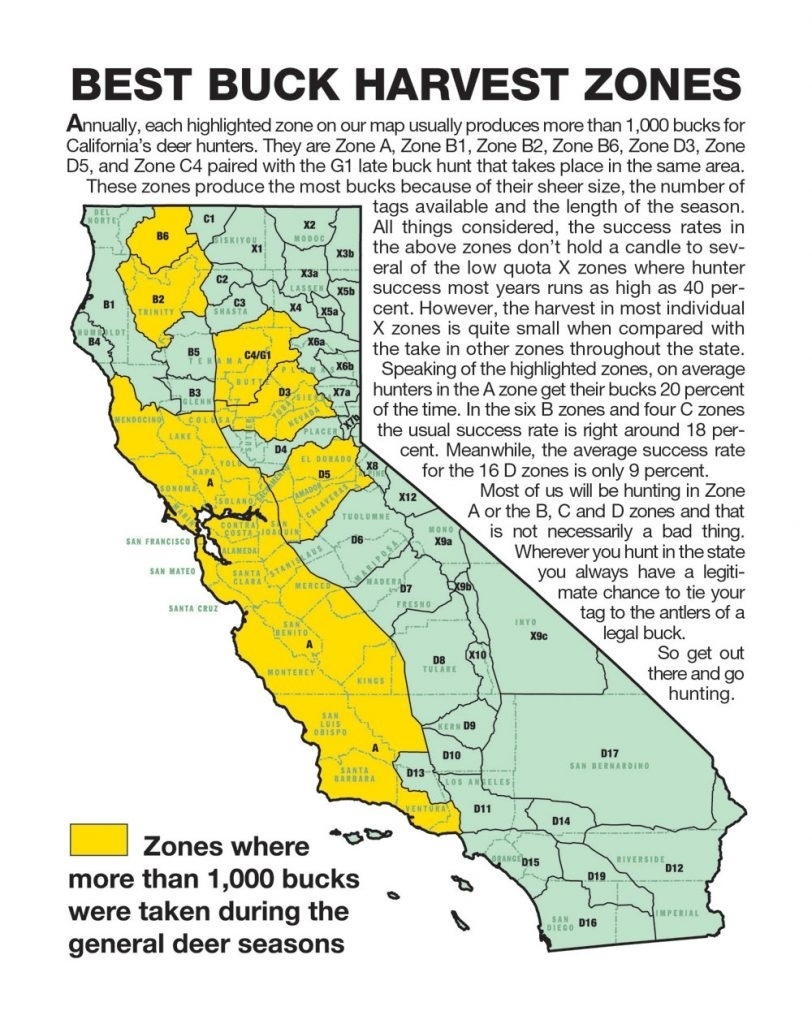 California Zone Map For Deer Hunting – Map Of Usa District - California Deer Hunting Map