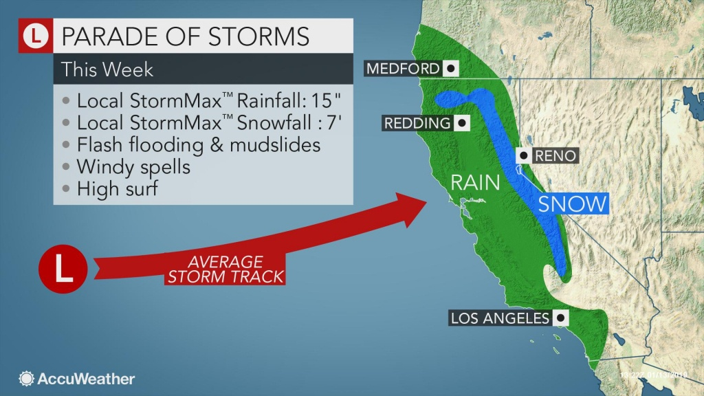 Californians To Face Relentless Wet, Snowy Weather Through The Week - California Radar Map