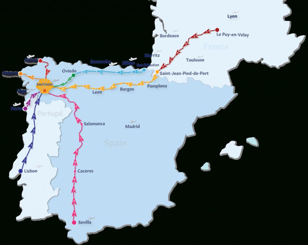 Camino De Santiago Routes | Follow The Camino - Printable Map Of Camino De Santiago