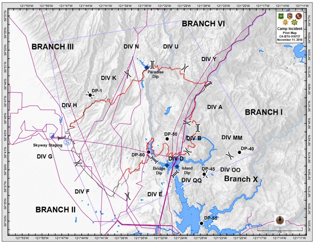 Campfire Updated Branch/division Map. Paradise,california - Paradise California Map