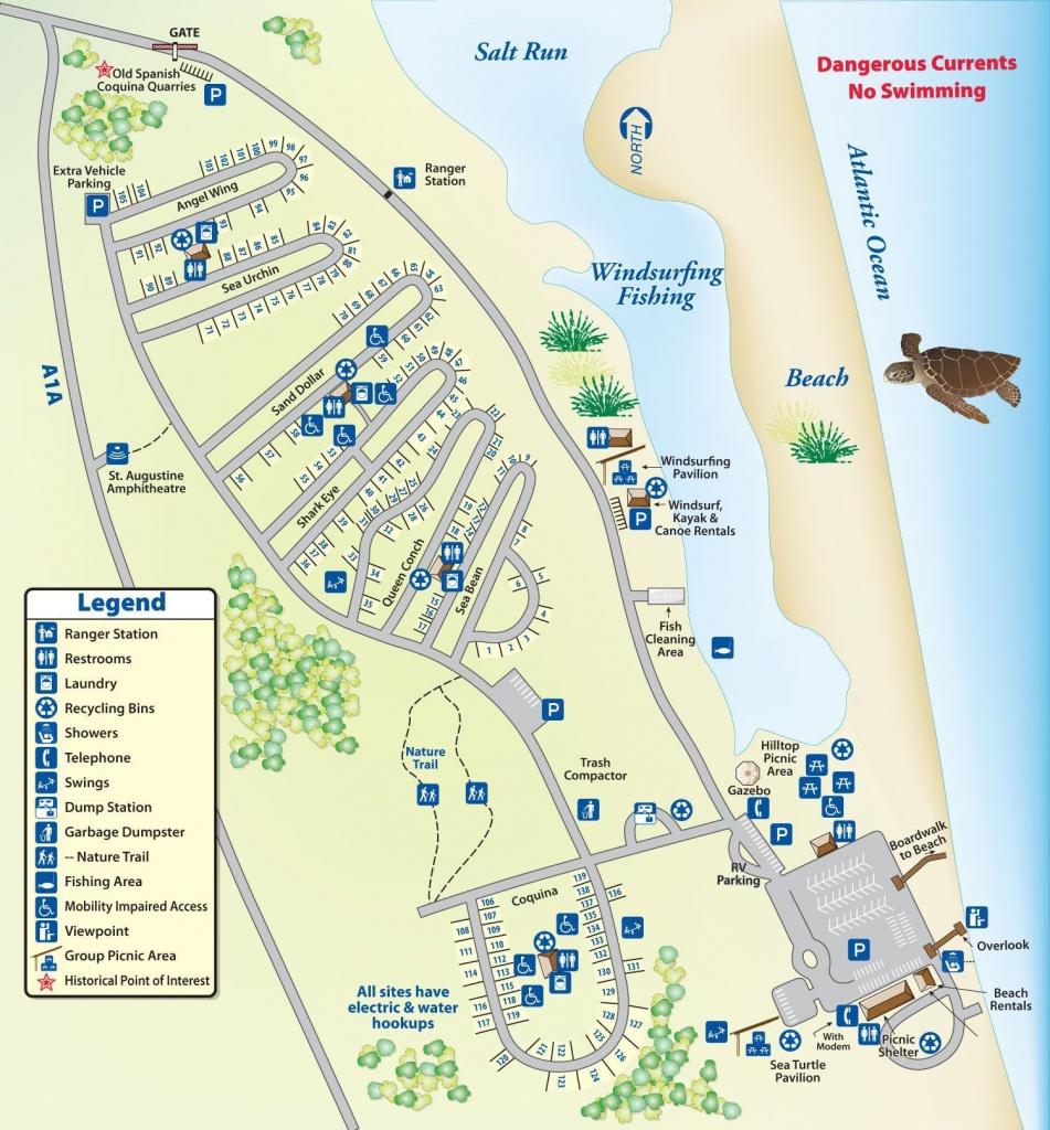 Campground Map Anastasia State Park | Florida | Florida Camping - Florida State Parks Rv Camping Map