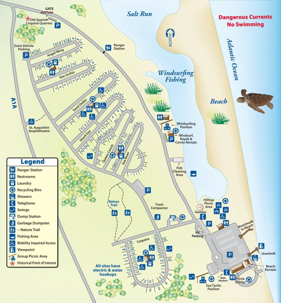 Campground Map Anastasia State Park | Florida | Florida Camping - Map Of Rv Parks In Florida