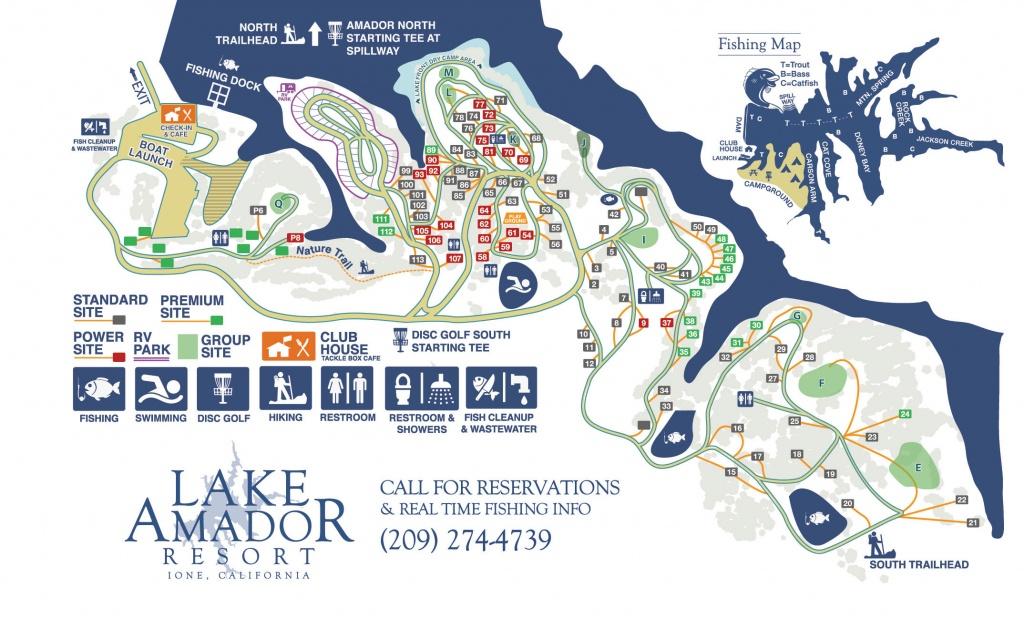 Campground Map – Fishing & Camping In Northern Ca   Lake Amador - Northern California Fishing Map