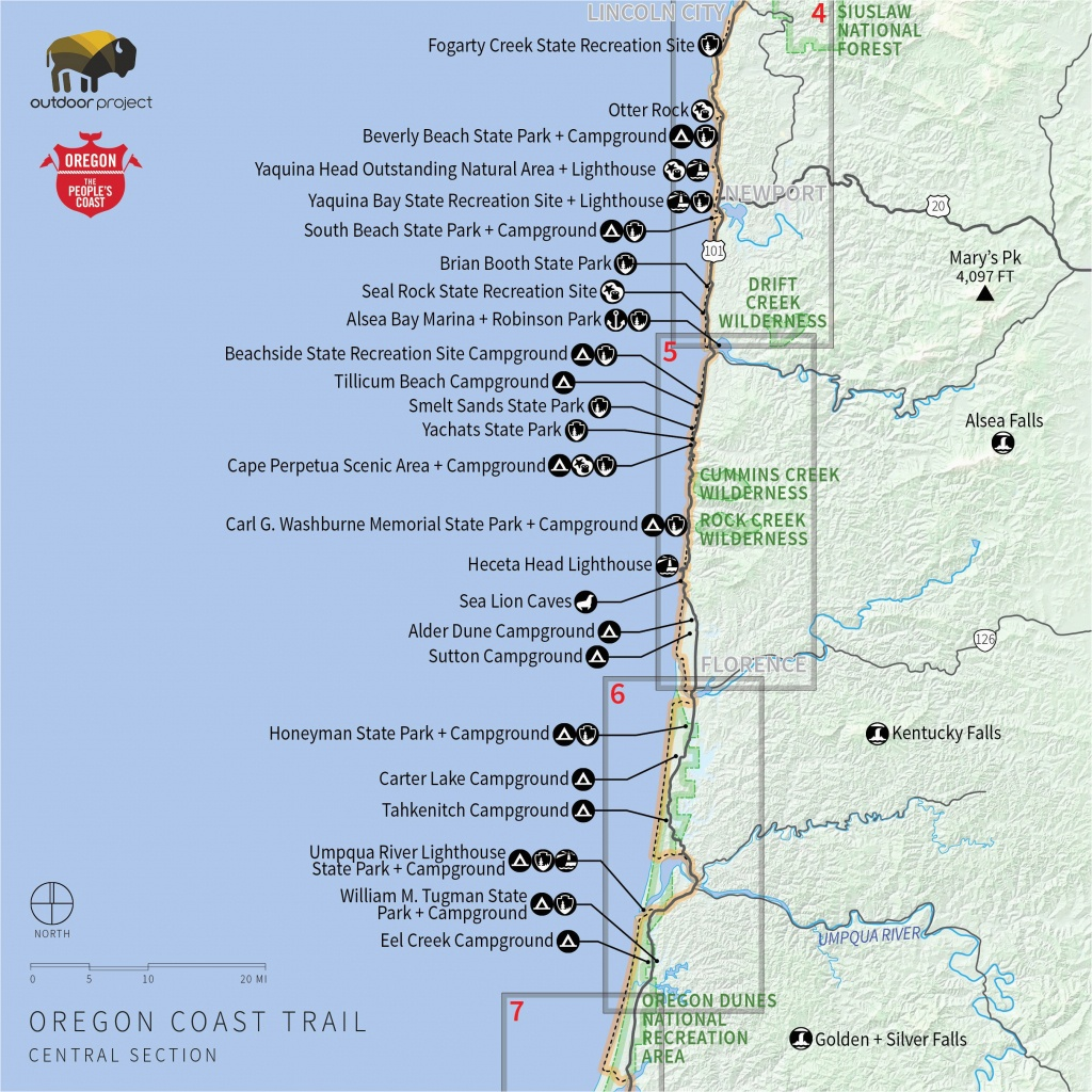 Camping Oregon Coast Map | Secretmuseum - Camping Central California Coast Map