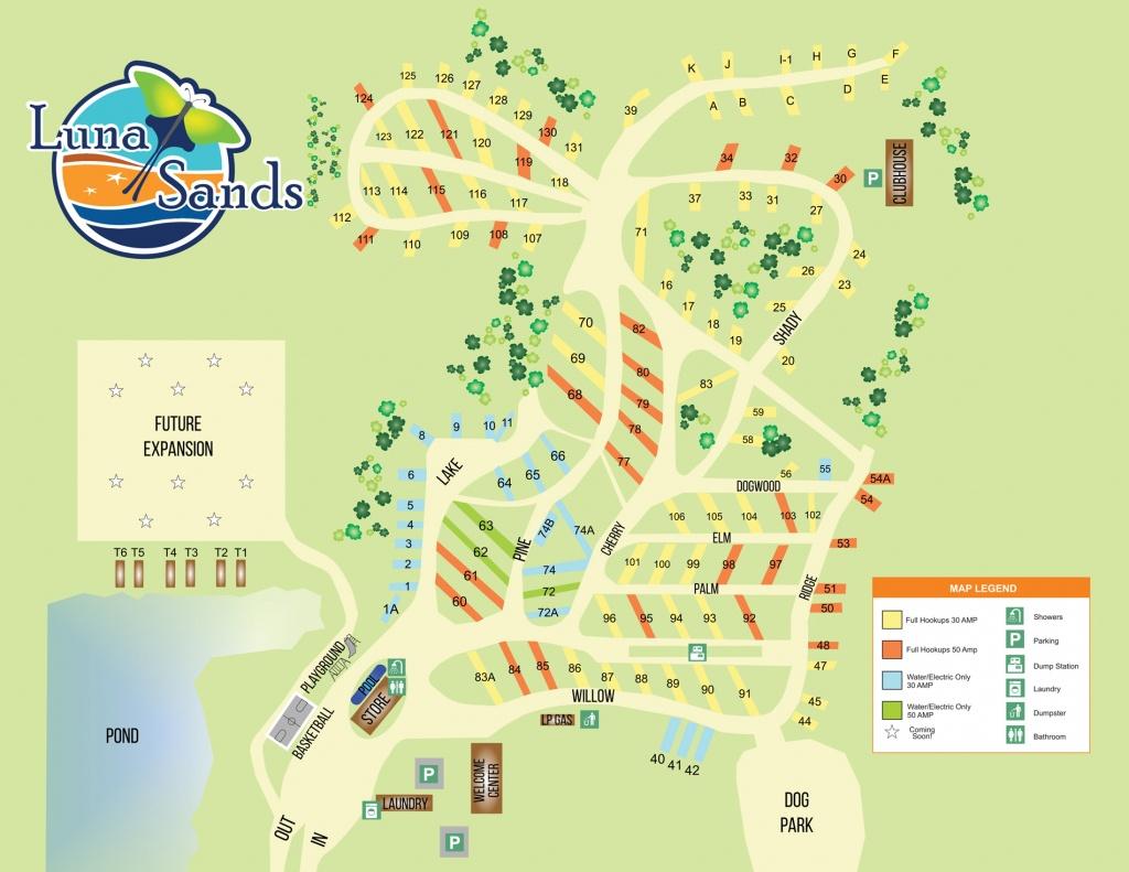 Campsite Map | Luna Sands Resort | Orange City, Fl - Florida Tent Camping Map