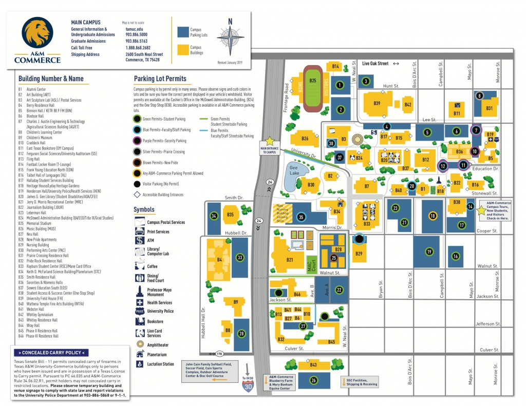 Campus Map - Texas A&m University-Commerce - Texas A&m Parking Map