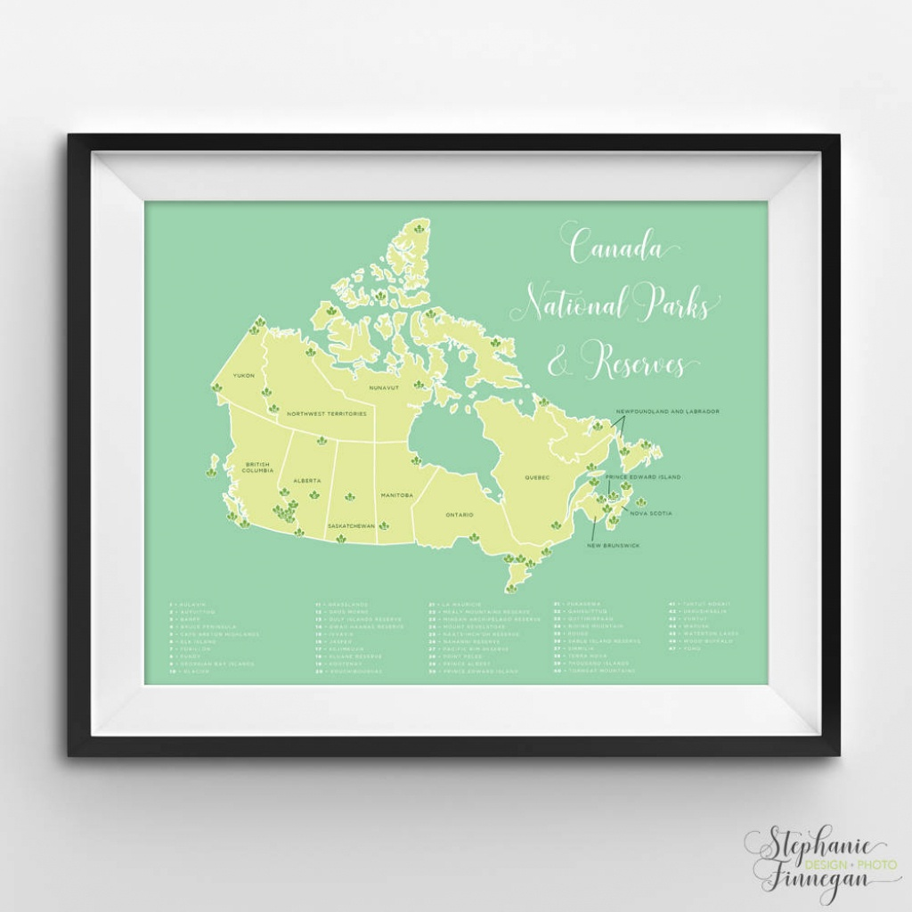 Canada National Parks Map National Parks Parks Canada | Etsy - Printable Map Of National Parks
