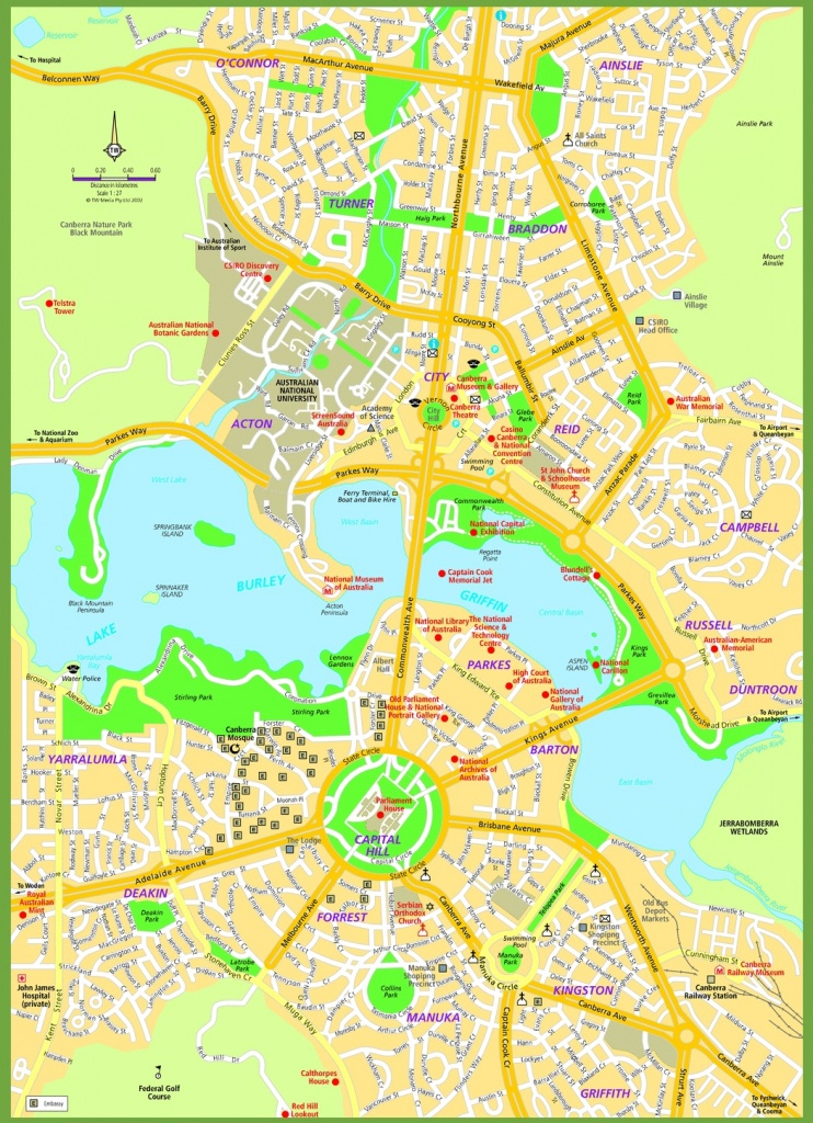 Canberra Street Map - Printable Map Of Canberra
