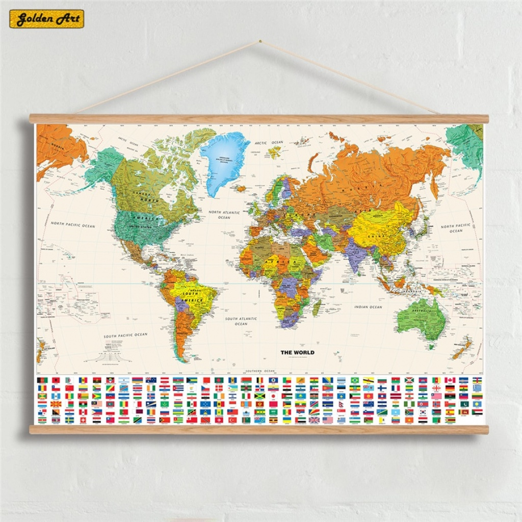 Canvas Olie Prints Schilderen National Geographic World Map Wall Art - National Geographic World Map Printable