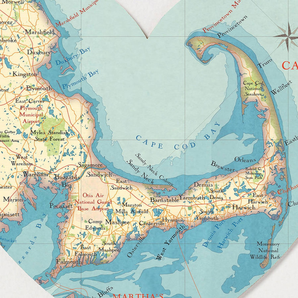Cape Cod Map Heart Print - Printable Map Of Cape Cod