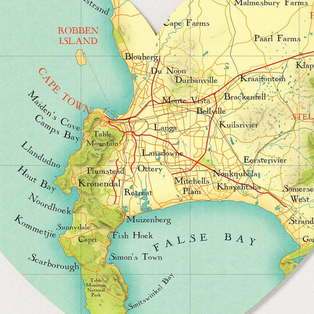 Cape Town Map Heart Printbombus Off The Peg | Notonthehighstreet - Printable Town Maps
