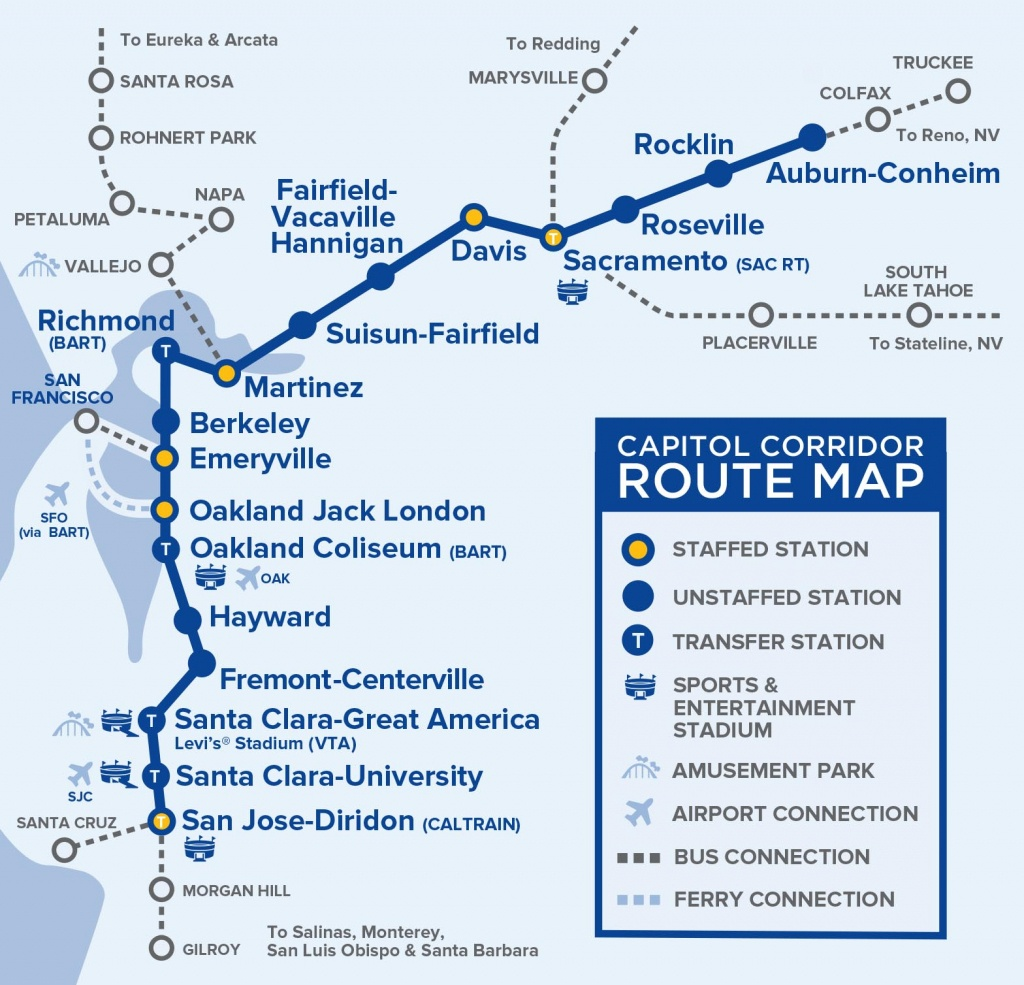 Capital Corridor Train Route Map For Northern California - Southern California Train Map