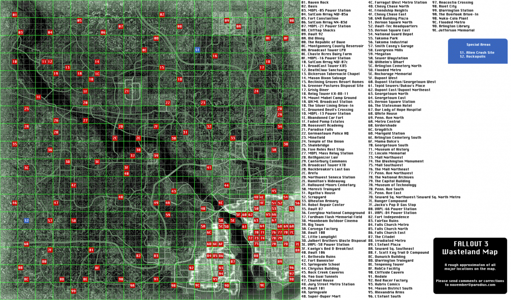 Capital Wasteland Map - Fallout 3 - Giant Bomb - Fallout 3 Printable Map