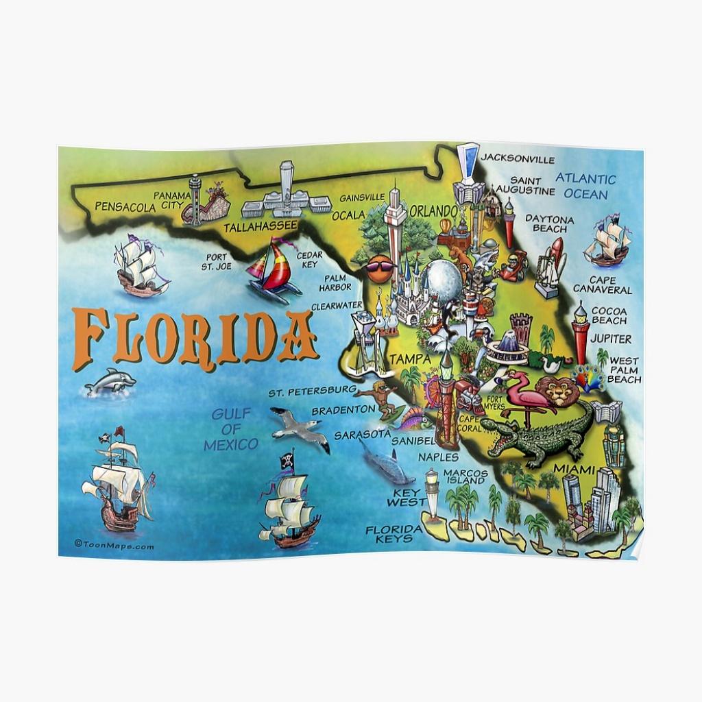 "Cartoon Map Of Florida"" Posterkevinmiddleton | Redbubble - Florida Cartoon Map"