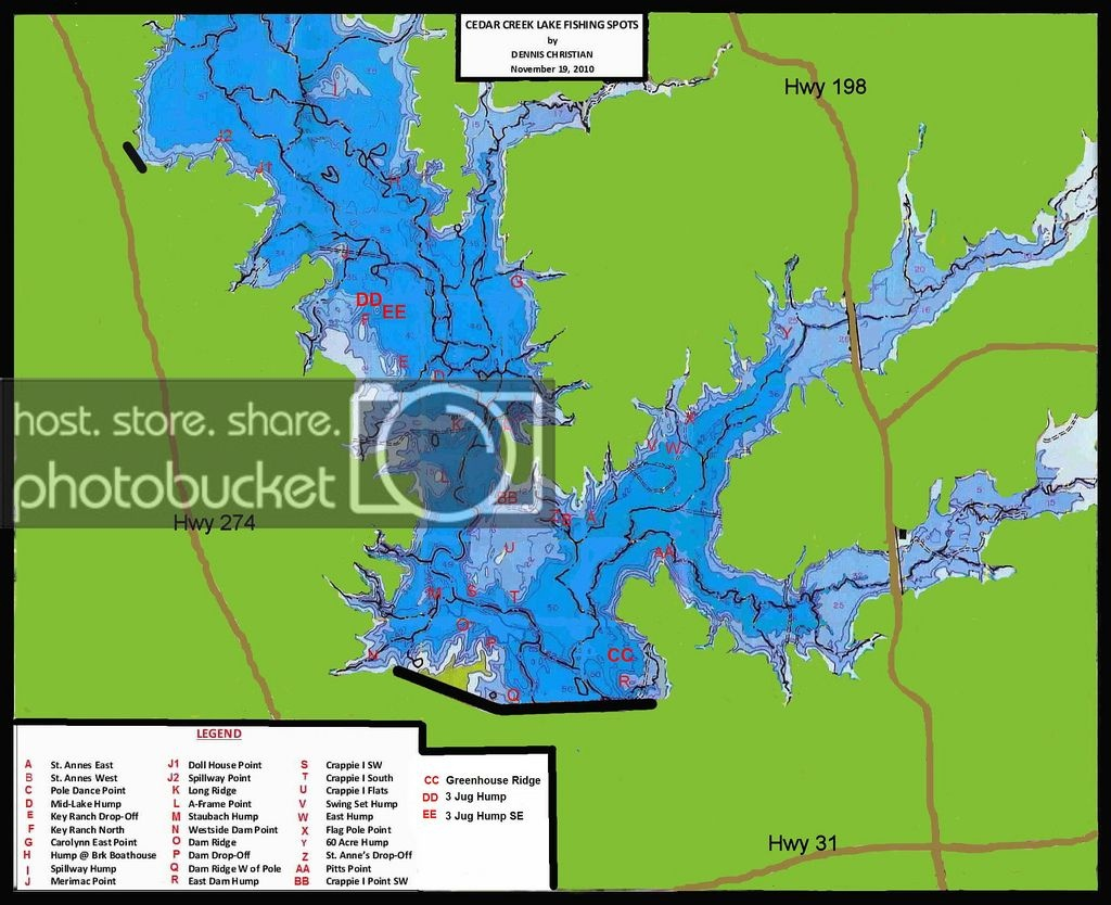 Cedar Creek Lake Map | Whites - Hybrids - Striper | Texas Fishing Forum - Cedar Creek Texas Map