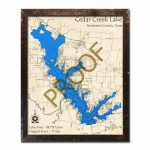 Cedar Creek Lake, Texas 3D Wooden Map | Framed Topographic Wood Chart   Cedar Creek Texas Map