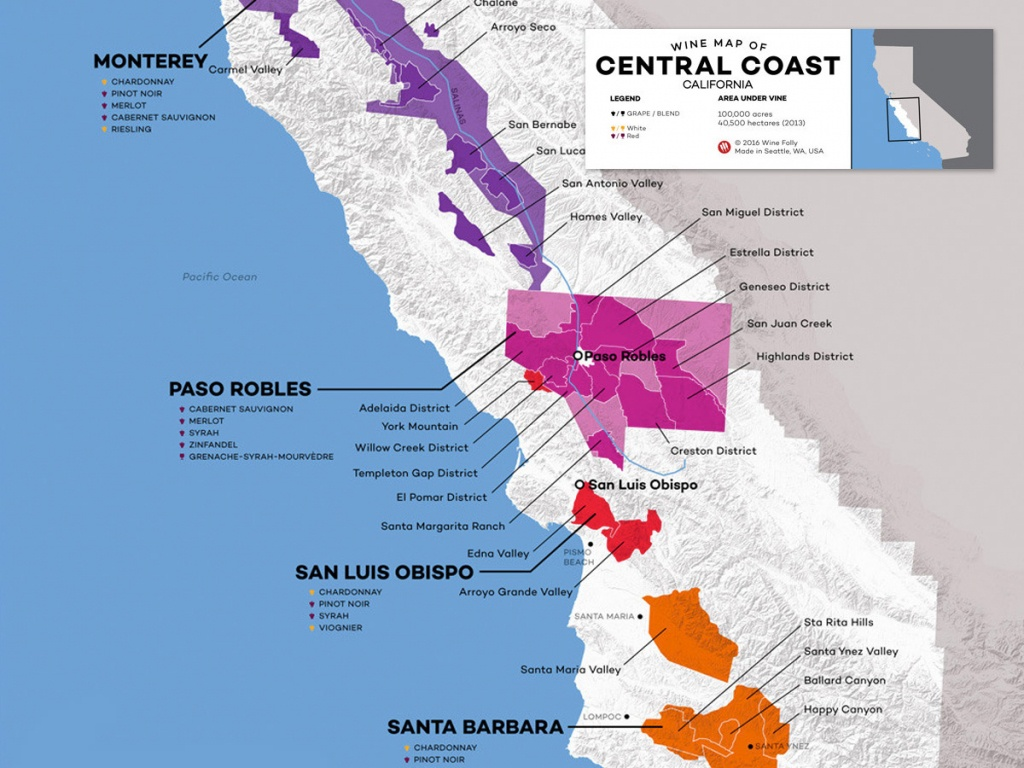 Central Coast Wine: The Varieties And Regions   Wine Folly - California Vineyards Map