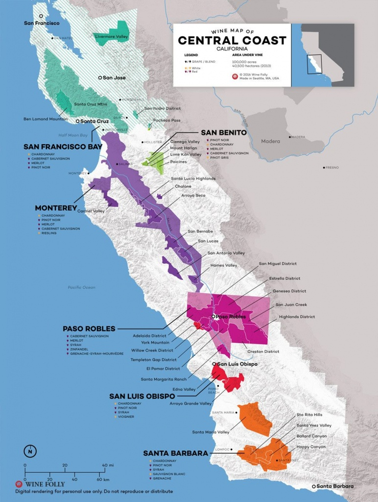 Central Coast Wine: The Varieties And Regions   Wine Maps - Central California Wineries Map