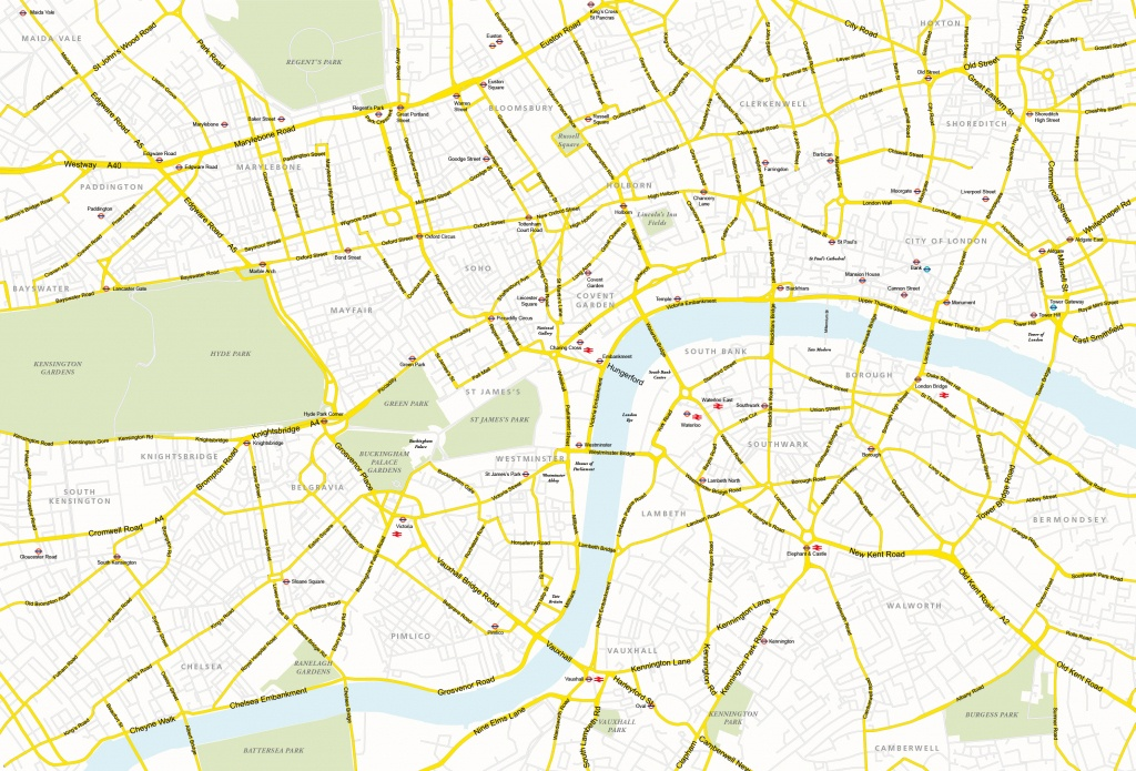 Central London Map - Royalty Free, Editable Vector Map - Maproom - Printable Street Map Of Central London