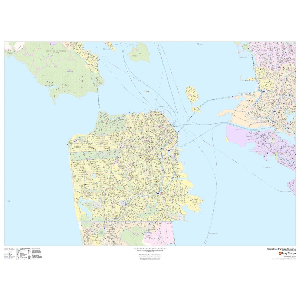 Central San Francisco, California - Landscape - The Map Shop - San Francisco California Map