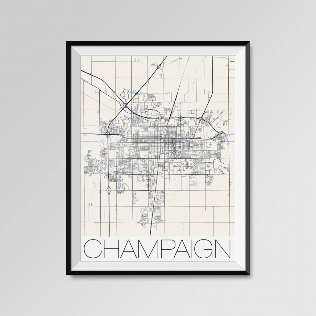 Champaign Illinois Map Champaign City Map Print Champaign | Etsy - Printable Map Of Champaign Il